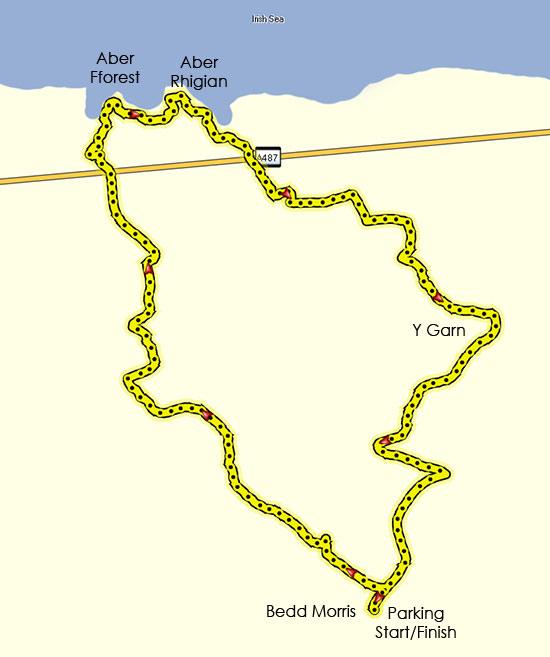 Circular Walk from Bedd Morris to Aberfforest and Return