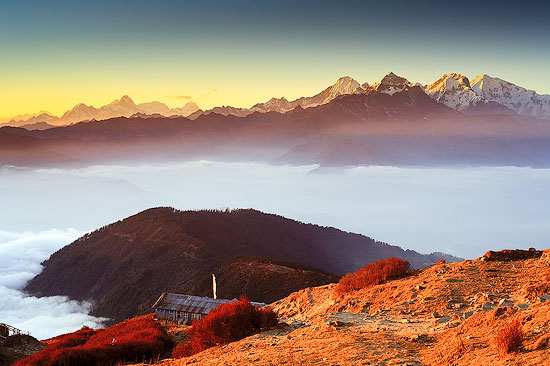 The Mighty Himalayas at Sunset at Laurebina 3910m