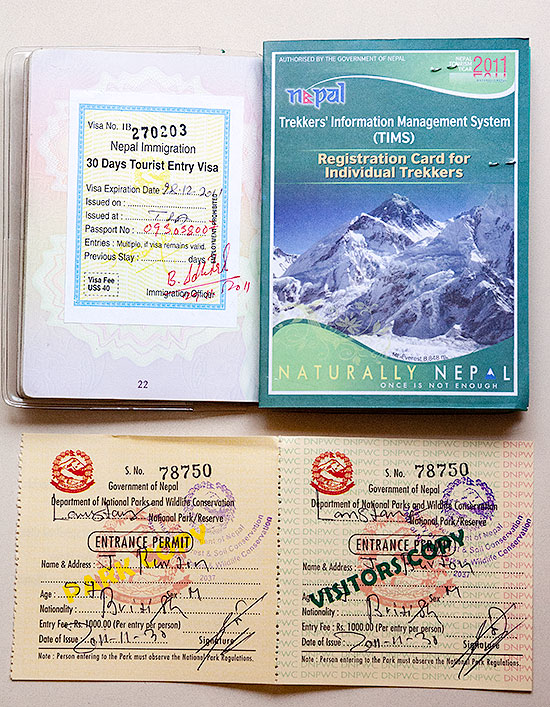 Nepali Visa, TIMS Card and Trekking Permit