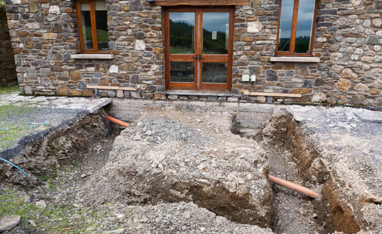 The foundations are dug for the new sunroom