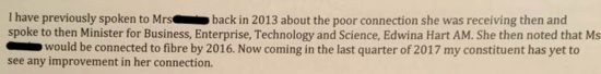 Extract of letter from government minister promising fibre broadband by 2016